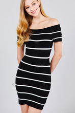Load image into Gallery viewer, Jayla - Off Shoulder Striped Sweater Dress