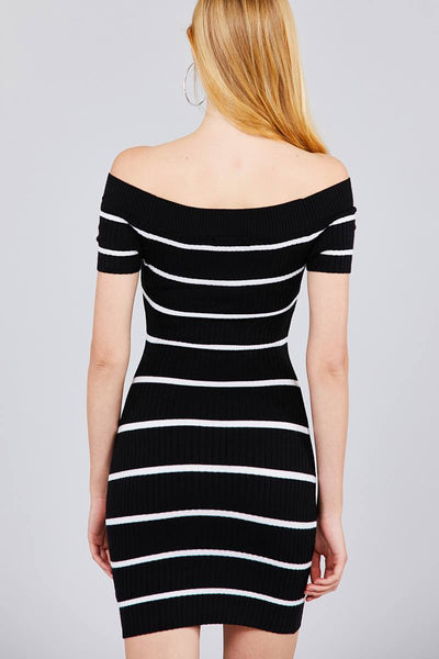 Jayla - Off Shoulder Striped Sweater Dress