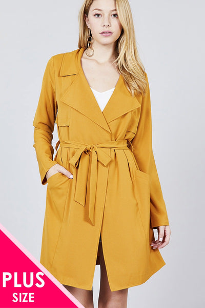 Lune - Plus Size Notched Collar Long Jacket