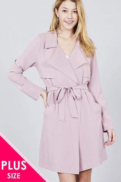 Leala - Notched Collar Long Jacket Plus Size