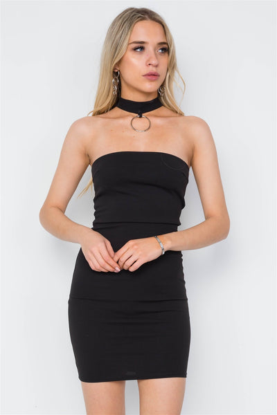 Jordana - Black Choker Neck Mini Dress