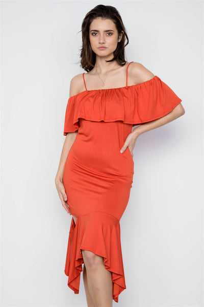 Denicia - Rust Flounce Cut Out Dress