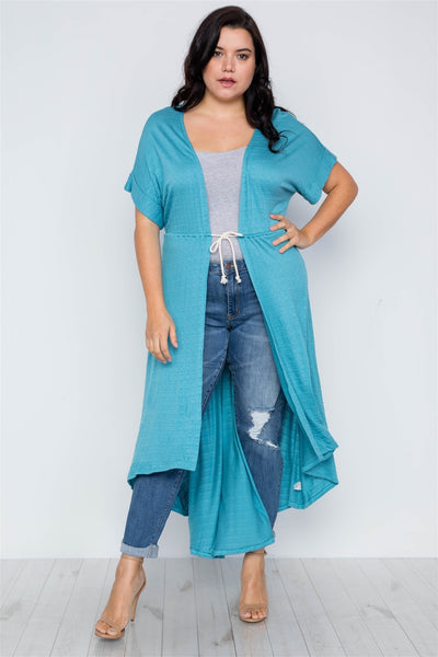 Fantasia - Plus Size Aqua Basic High Low Cardigan