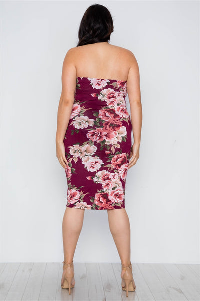 Elena - Plus Size Floral Print 2-way Wear Dress