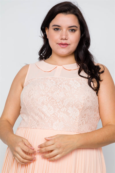 Elizabeth - Plus Size Peach Pleated Chiffon Dress