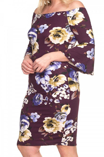 Leiko - Off Shoulder Bell Sleeve Floral Dress