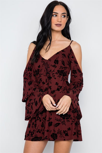 Lucera - Burnout Velvet Cold Shoulder Dress