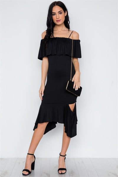 Celandine - Black Flounce Cut Out Dress