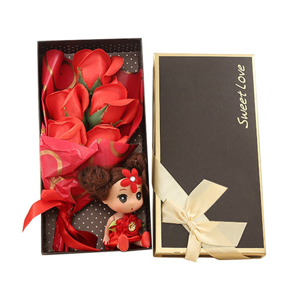 5pcs Romantic Artificial Rose Soap Flowers Set in Gift Box