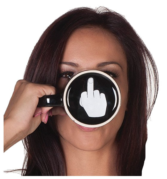 Gag Gift - Creative Have a Nice Day Coffee Mug with Middle Finger Funny Cup