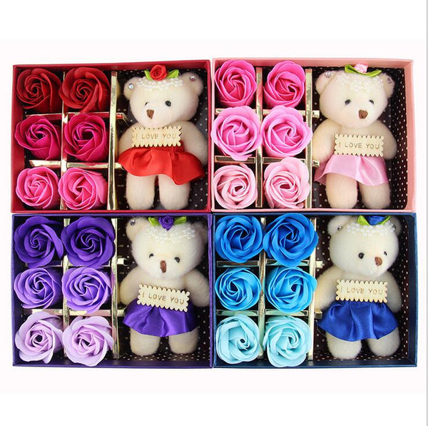 6Pcs Romantic Rose Soap Flower With Little Cute Bear in Gift Box