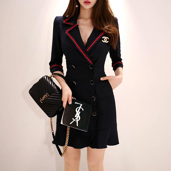 Black Widow - Elegant Double-breasted Blazer Dress