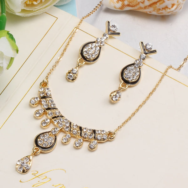 Crystal WaterDrop Necklaces with Drop Earring Jewelry Set