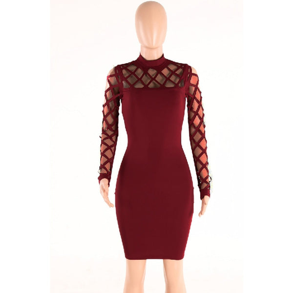 Zeria - Elegant Hollow out Bandage Mini Dress