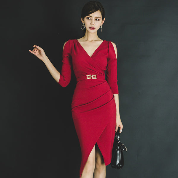 Cerise - Red Three Quarter Sleeve Hollow Out Belted Dresses