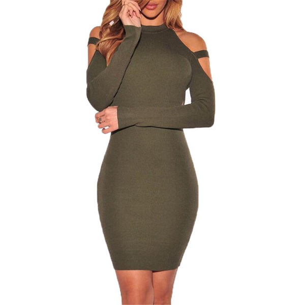 Sylva - Off Shoulder Long Sleeve Elastic Bodycon Dress