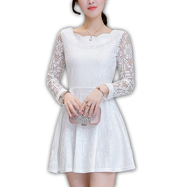 Adara - Long Sleeve A-line Slim Skater Lace Dress