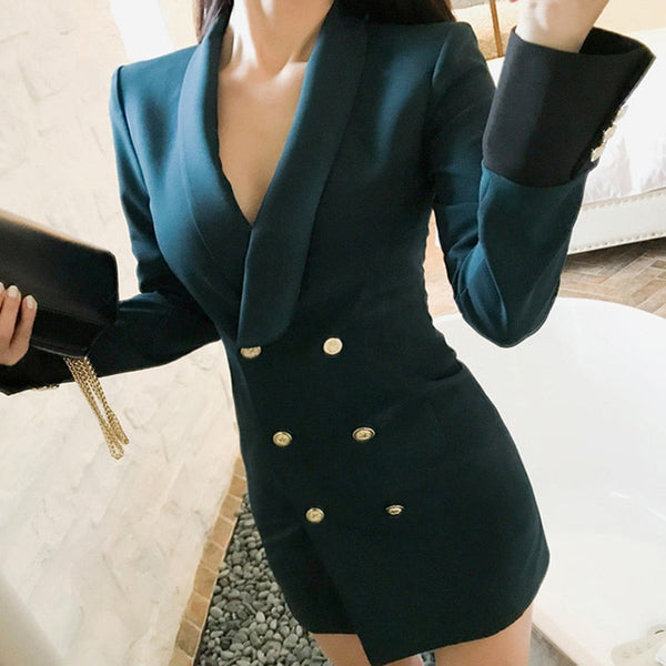 Pearl - Deep Green Notched Collar Blazer Dress