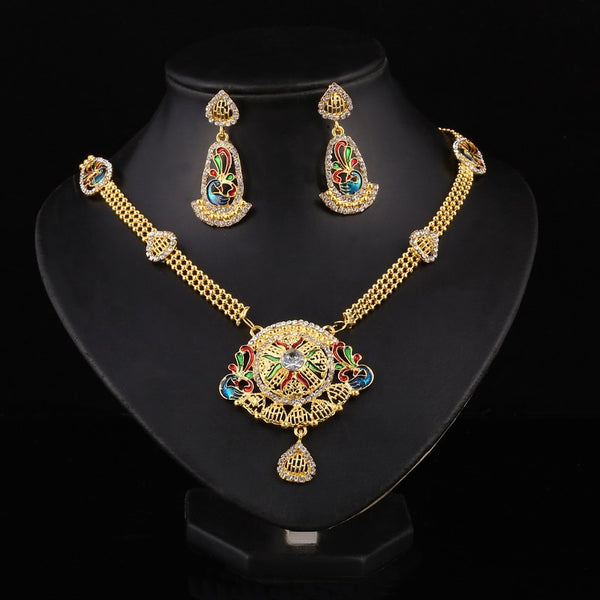 24K Gold Filled Colorful Flower Necklace with Earrings Set