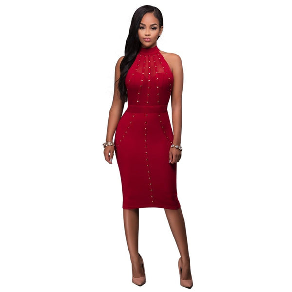 Janaiya - Knee Length Rivet Halter Bodycon Dress