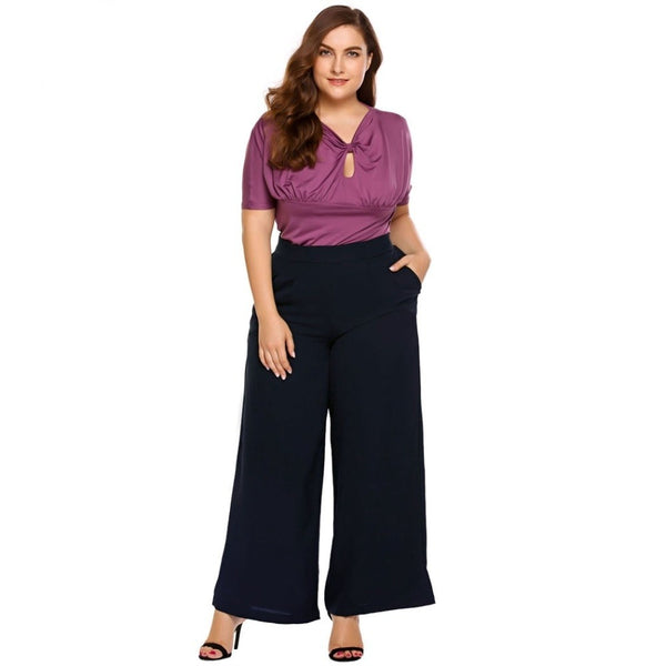 Fiona - Plus Size Wide Leg High Waisted Pants