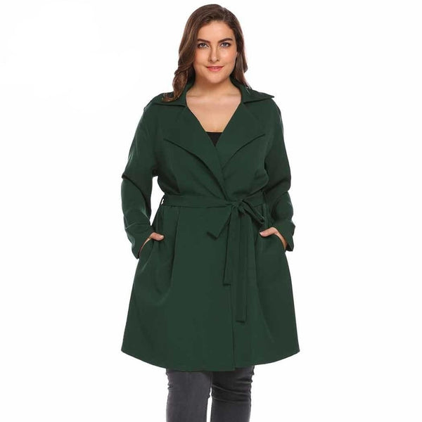 Olivia - Plus Size Long Sleeve Windbreaker Trench Coat
