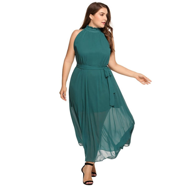 Regina - Plus Size Long Halter Sleeveless Chiffon Dress