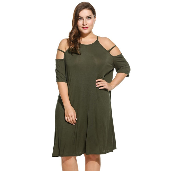 Gena - Plus Size Spaghetti Strap Cold Shoulder Half Sleeve Casual Dresses