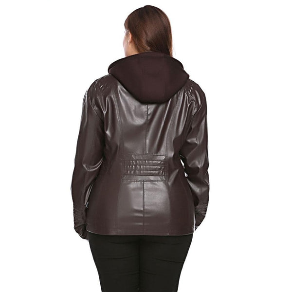 Aida - Plus Size Faux-Leather Hooded Jacket