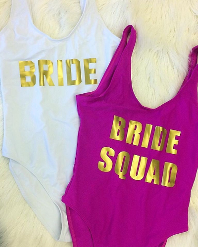 Bride One Piece Swimsuit Bride Squad One Piece Swimsuit Slogan Swimwear Slogan Swimsuit Hens Party Swimsuit