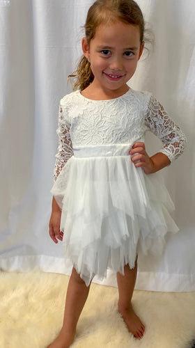 Harlow Flower Girl Dress Long Sleeves Perth Flower Girl Dresses Lace Tutu Dress Perth