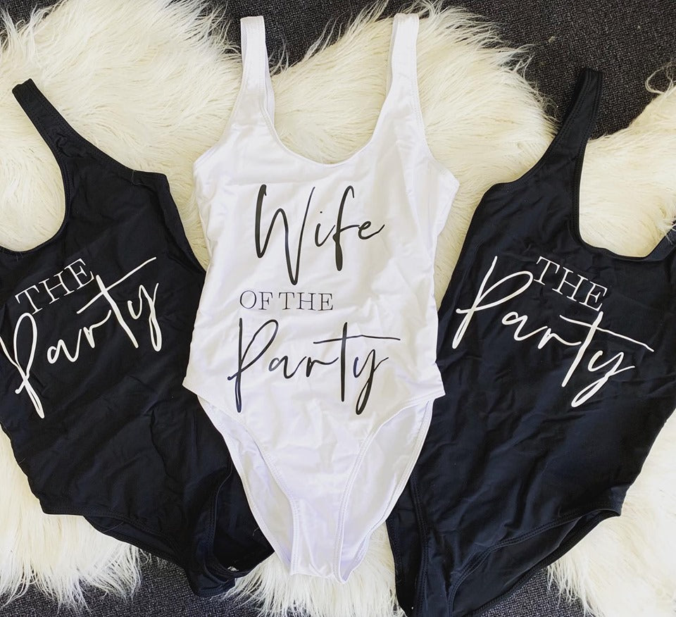 Wife of the Party Swimsuit The Party Swimsuit Slogan Swimwear Slogan Swimsuit
