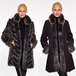 Beautiful-Woman-Wearing-3/4-Length-Reversable-Fur-Coat-by-Linda-Richards-9499-Black-Silver