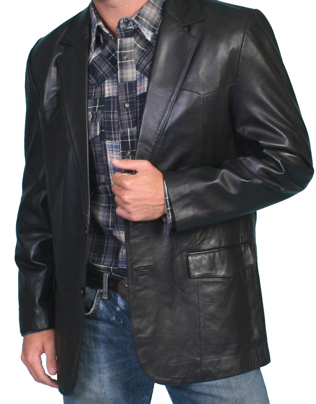 Leather Blazer Western Cut Black 501-11