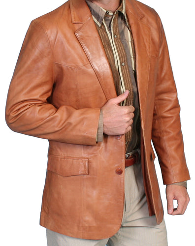 Leather Blazer Western Cut Ranch Tan 501-171