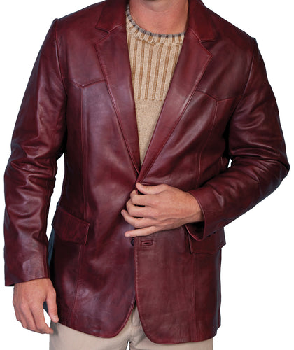 Leather Blazer Western Cut Black Cherry 501-179