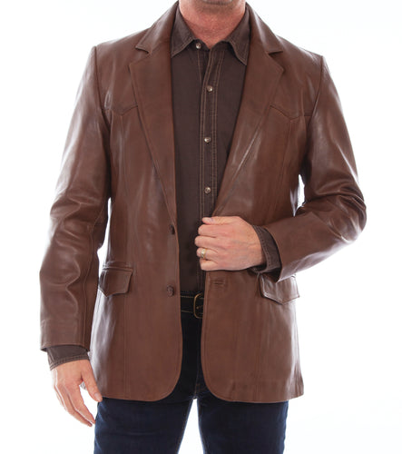 Man-Wearing-Leather-Blazer-Western-Cut-Chocolate-501-427
