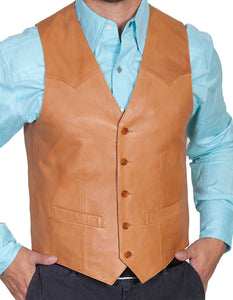 Leather Vest Western Cut Ranch Tan 503-171