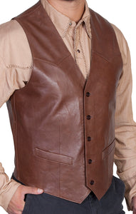 Leather Vest Western Cut Chocolate 503-427