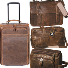 Load image into Gallery viewer, Aero-Squadron-Four-Piece-Leather-Luggage-Set-by-Scully