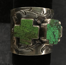 Apple-Green-Turquoise-Cross-Nugget-Cuff-by-Paige-Wallace-Designs-331D