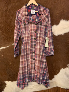 My Choice Trench Coat, Washed Out Lilac Plaid, ED19H61BR, SALE!