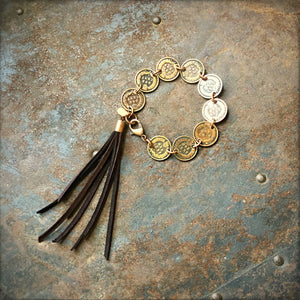 Indian Head Penny Bracelet with Deerskin Tassels, WD-B1077
