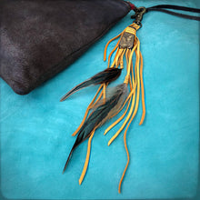 Clip, Feather & Gold Deerskin Leather with Gold Stone, BK-KY1126D