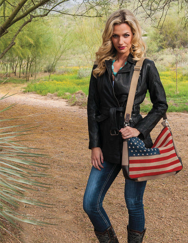 American Flag Purse, Suede Leather, B124