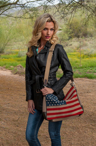 Beautiful-Woman-Carrying-Suede-Leather-American-Flag-Handbag-by-Scully-B124