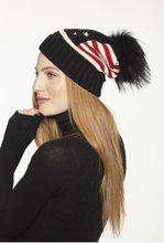 Beautiful-Woman-Wearing-American-Flag-Stars-and-Stripes-Stocking-Cap-with-Genuine-Fur-Pom-Pom-by-Linda-Richards-HA52
