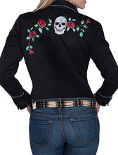 Beautiful-Woman-Wearing-Embroidered-Skulls-and-Roses-Blouse-by-Scully-PL771