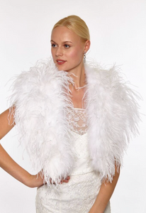 Beautiful-Woman-Wearing-Feather-Cape-by-Linda-Richards-New-York-FT33-White