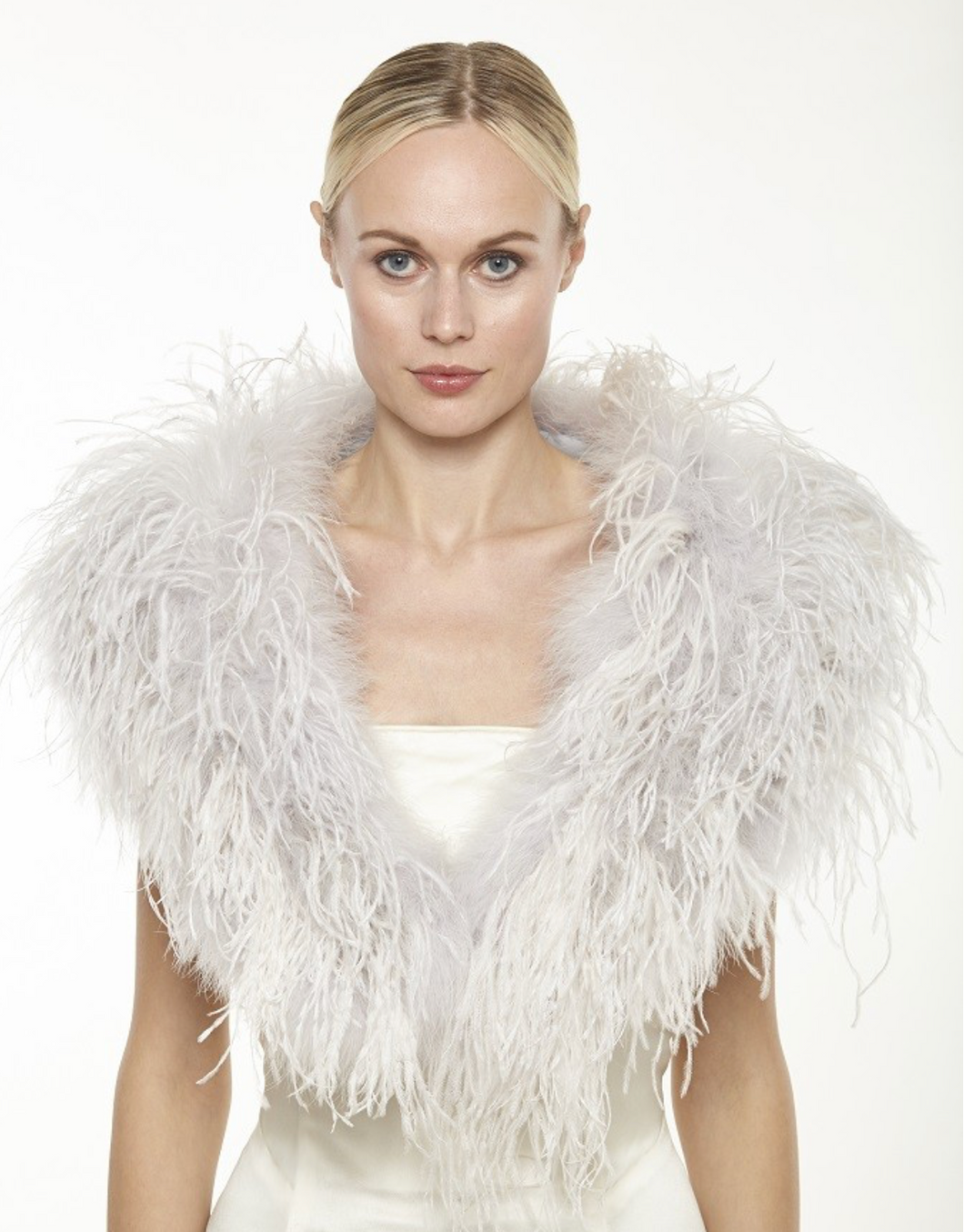 Beautiful-Woman-Wearing-Feather-Cape-by-Linda-Richards-New-York-FT33-Dove-Grey
